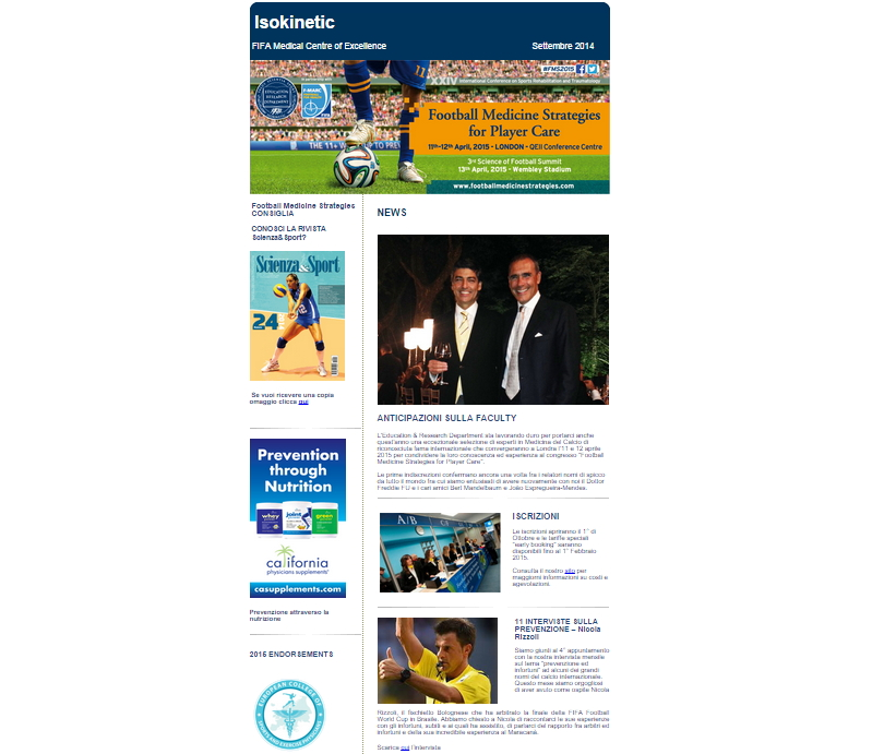 Newsletter Congresso Football Medicine Strategies – Settembre