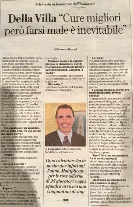 """Dott.Stefano Della Villa: """"Cure migliori però farsi male è inevitabile"""""""