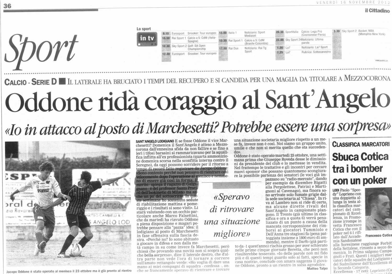 """Il Cittadino: """"Oddone ridà coraggio al Sant'Angelo"""""""