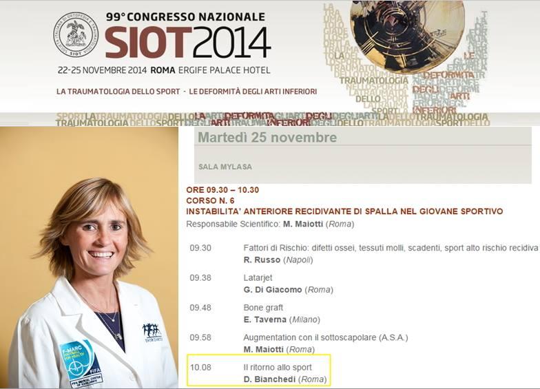 La Dott.ssa Bianchedi al congresso SIOT 2014 a Roma