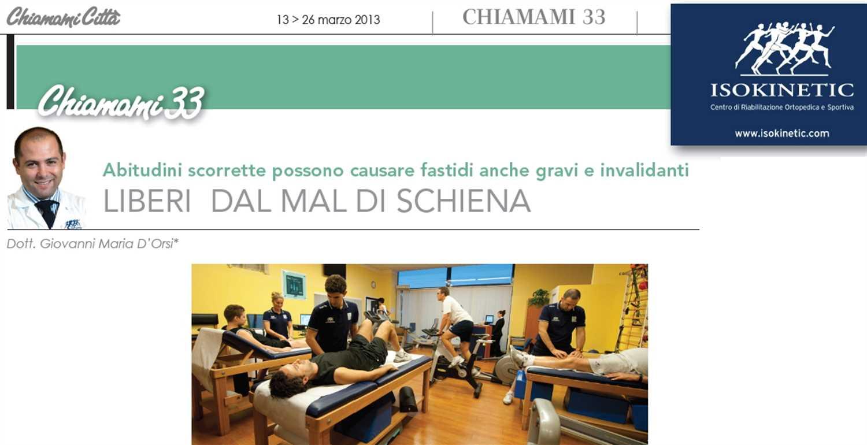 """ChiamamiCittà: """"Liberi dal mal di schiena"""", Dott. Giovanni Maria D'Orsi"""