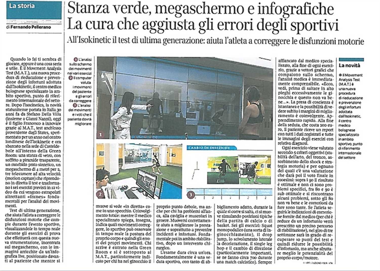 """Corriere della Sera: """"Stanza verde, megaschermo e infografiche. La cura che aggiusta gli errori degli sportivi"""""""