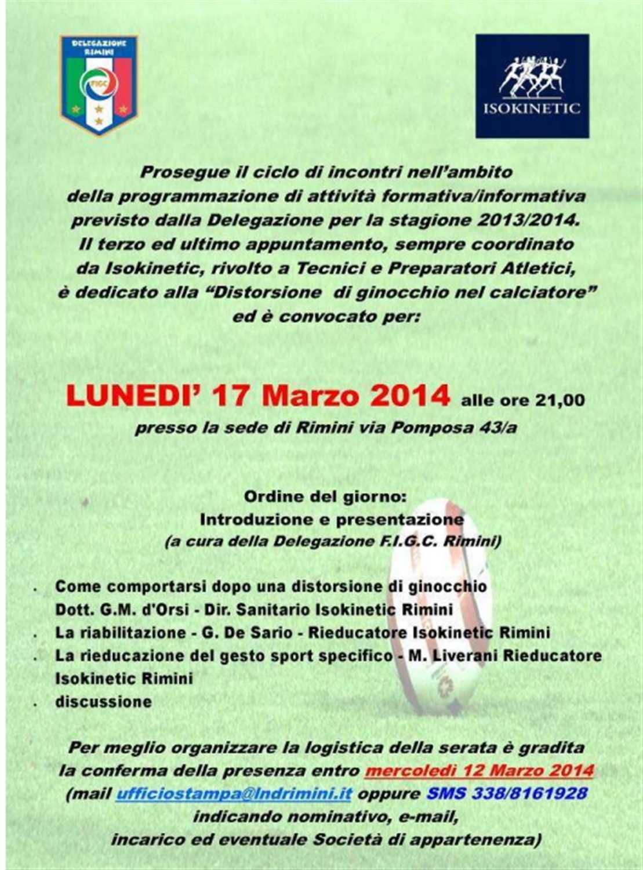 """Incontro tra F.I.G.C. e Isokinetic Rimini lunedì 17 Marzo: """"Distorsione di ginocchio nel calciatore"""""""