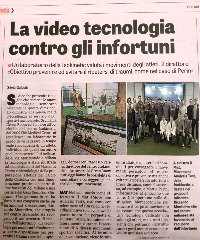 """La Gazzetta dello Sport: """"La video tecnologia contro gli infortuni"""""""