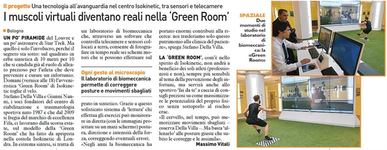 """Il Resto del Carlino: """"I muscoli virtuali diventano reali nella Green Room"""""""
