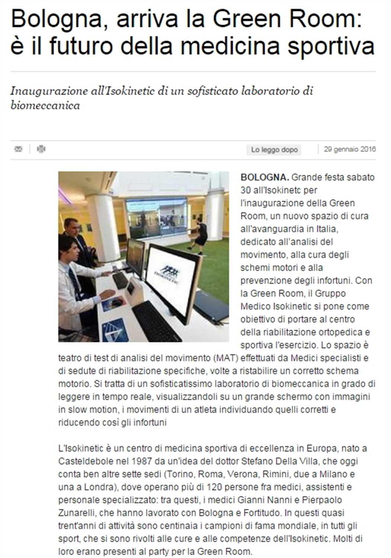 """La Repubblica: """"Bologna, arriva la Green Room: è il futuro della medicina sportiva"""""""