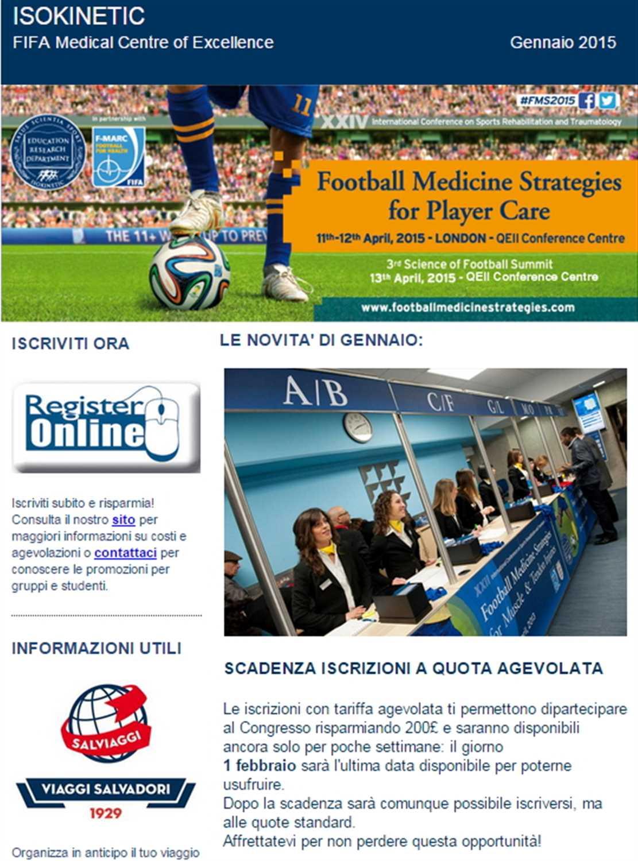Newsletter Congresso Football Medicine Strategies – Gennaio