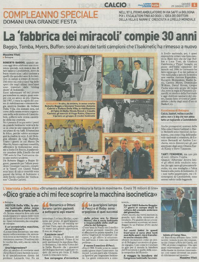 """Il Resto del Carlino: La """"fabbrica dei miracoli"""" compie 30 anni"""
