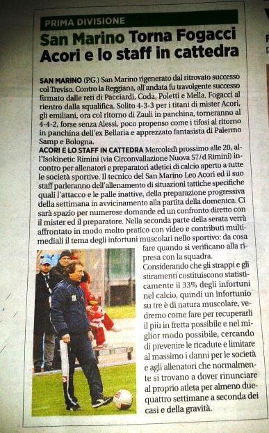 Una serata con Mister Acori all'Isokinetic Rimini: situazioni di gioco, allenamenti specifici e prevenzione degli infortuni