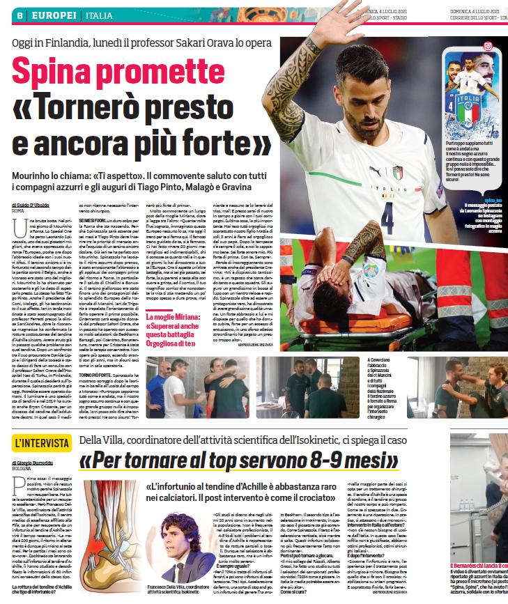 Tendine d'Achille Spinazzola-FDV-Corriere della Sport