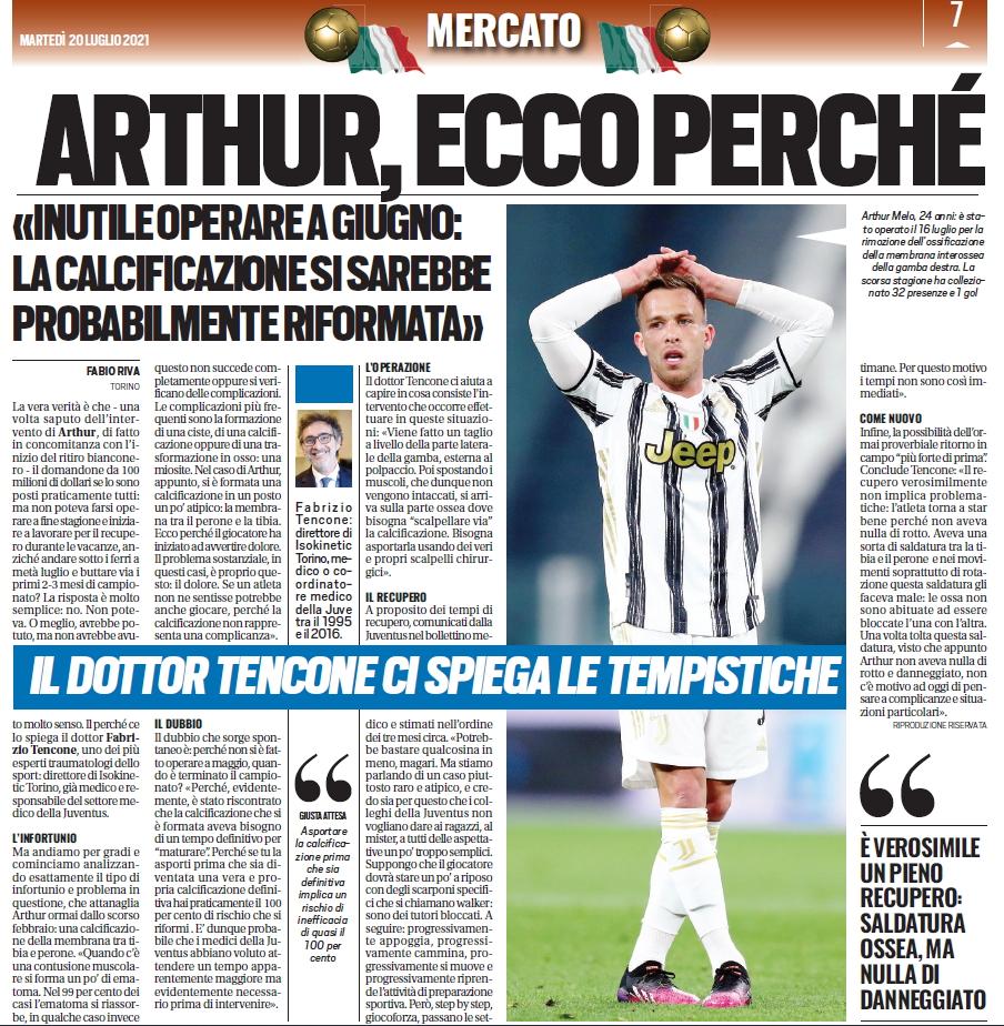 Dr. Tencone di Isokinetic Torino su Tuttosport-Juventus -Arthur calcificazione